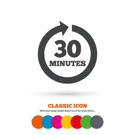 every: Every 30 minutes sign icon. Full rotation arrow symbol. Classic flat icon. Colored circles. Vector