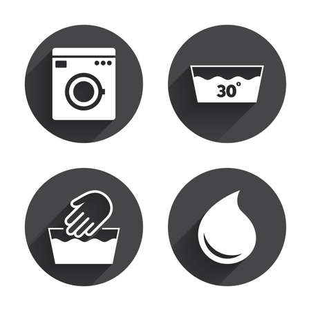 washhouse: Hand wash icon. Machine washable at 30 degrees symbols. Laundry washhouse and water drop signs. Circles buttons with long flat shadow