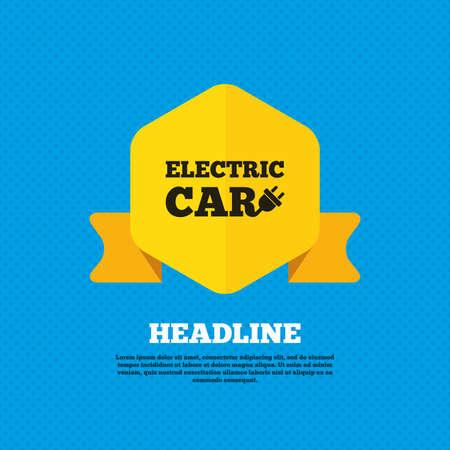 auto sign: Icono de la muestra del coche el�ctrico