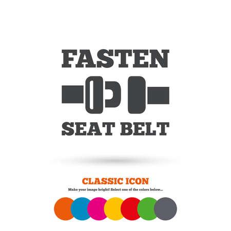 fasten: Fasten seat belt sign icon