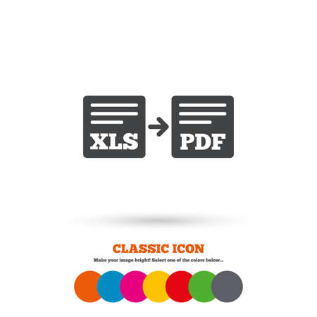 xls: Export XLS to PDF icon Illustration