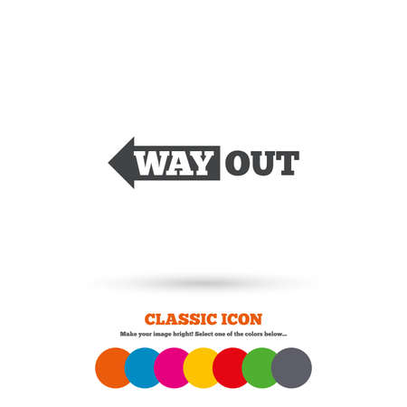 way out: Way out left sign icon
