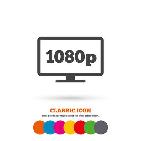 full hd: Full hd widescreen tv sign icon Illustration