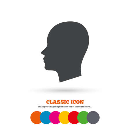 classic woman: Head sign icon. Female woman human head symbol. Classic flat icon. Colored circles. Vector