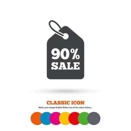 90: 90% sale price tag sign icon Illustration