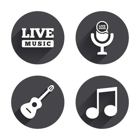 long live: Musical elements icons. Microphone and Live music symbols. Music note and acoustic guitar signs. Circles buttons with long flat shadow. Vector