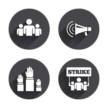 shadow people: Strike group of people icon. Megaphone loudspeaker sign. Election or voting symbol. Hands raised up. Circles buttons with long flat shadow. Vector