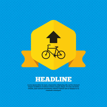 straight path: Bicycle path trail sign icon. Cycle path. Up straight arrow symbol. Yellow label tag. Circles seamless pattern on back. Vector Illustration