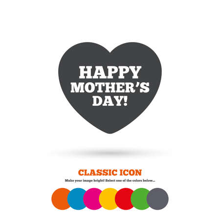 day sign: Happy Motherss Day sign icon. Mom symbol. Classic flat icon. Colored circles. Vector Vectores