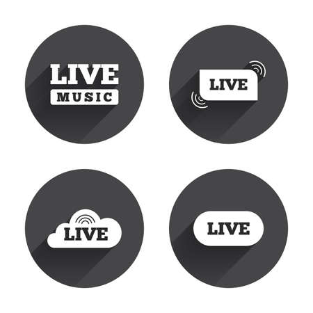 live on air: Live music icons. Karaoke or On air stream symbols. Cloud sign. Circles buttons with long flat shadow. Vector Illustration