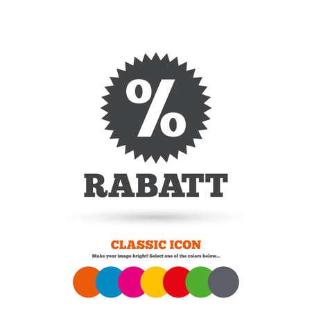 Rabatt - Rabatte auf Deutsch Zeichen-Symbol. Stern mit Prozentsatz Symbol. Klassische flache Symbol. Farbige Kreise. Vektor Standard-Bild - 44344082