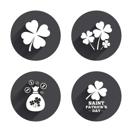 feast of saint patrick: Saint Patrick day icons. Money bag with clovers and coins sign. Symbol of good luck. Circles buttons with long flat shadow. Vector