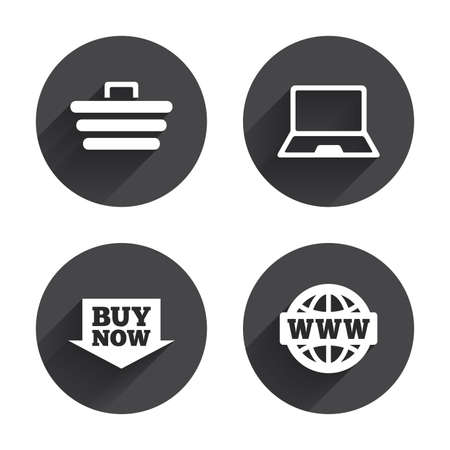 Online shopping icons. Notebook pc, shopping cart, buy now arrow and internet signs. WWW globe symbol. Circles buttons with long flat shadow. Vector