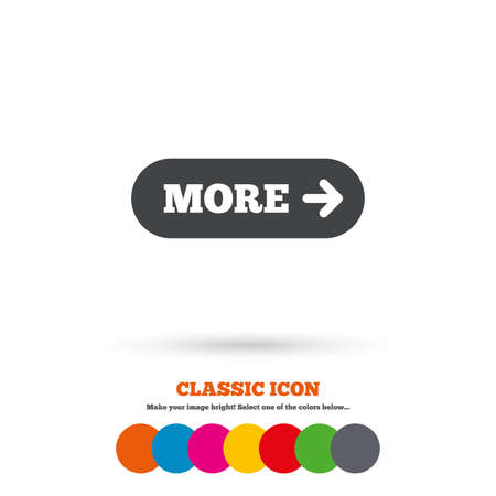 detail: More with arrow sign icon. Details symbol. Website navigation. Classic flat icon. Colored circles. Vector Illustration