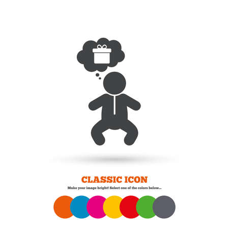 crawlers: Baby infant think about gift box sign icon. Toddler boy in pajamas or crawlers body symbol. Classic flat icon. Colored circles. Vector