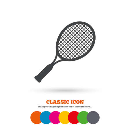 tennis racket: Tennis racket sign icon. Sport symbol. Classic flat icon. Colored circles. Vector
