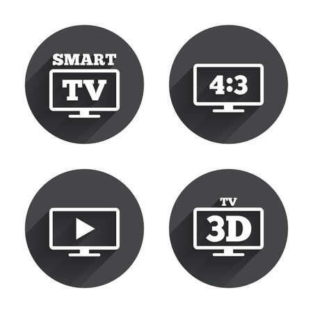 3d mode: Smart TV mode icon. Aspect ratio 4:3 widescreen symbol. 3D Television sign. Circles buttons with long flat shadow. Vector Illustration