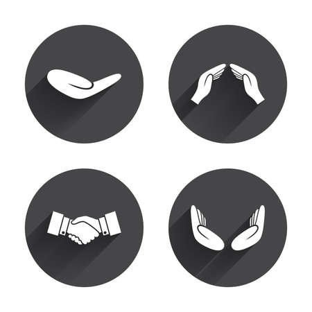 icon buttons: Hand icons. Handshake successful business symbol. Insurance protection sign. Human helping donation hand. Prayer meditation hands. Circles buttons with long flat shadow. Vector