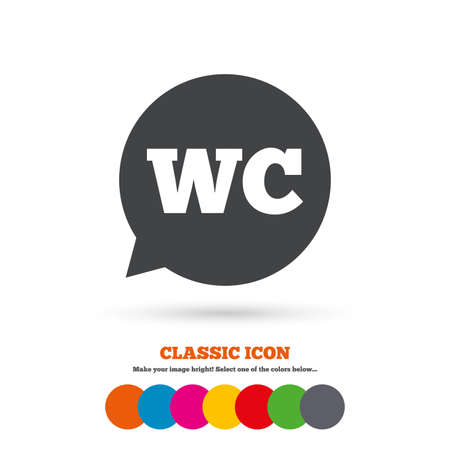 lavatory: WC Toilet sign icon. Restroom or lavatory speech bubble symbol. Classic flat icon. Colored circles. Vector