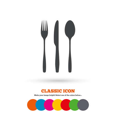 tablespoon: Fork, knife, tablespoon sign icon. Cutlery collection set symbol. Classic flat icon. Colored circles. Vector