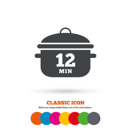 boil: Boil 12 minutes. Cooking pan sign icon. Stew food symbol. Classic flat icon. Colored circles. Vector Illustration
