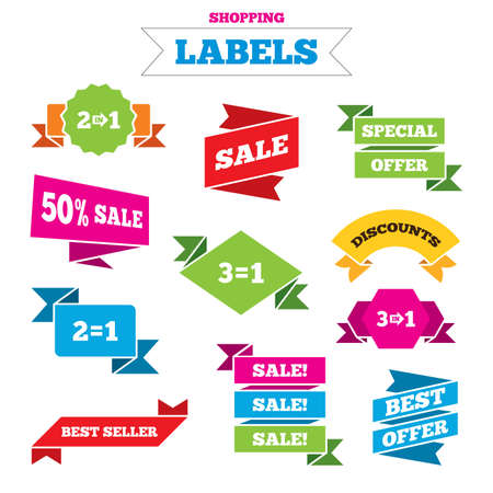 complement: Sale shopping labels. Special offer icons. Take two pay for one sign symbols. Profit at saving. Best special offer. Vector