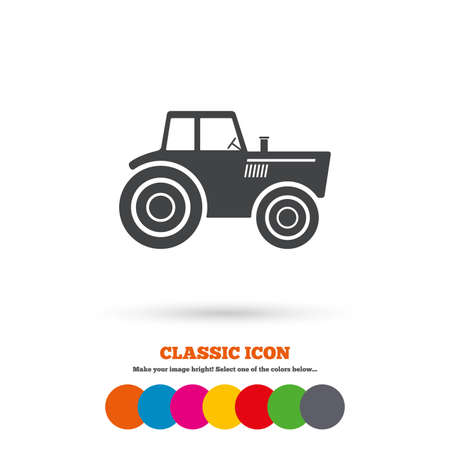 tractor sign: Tractor sign icon. Agricultural industry symbol. Classic flat icon. Colored circles. Vector Illustration