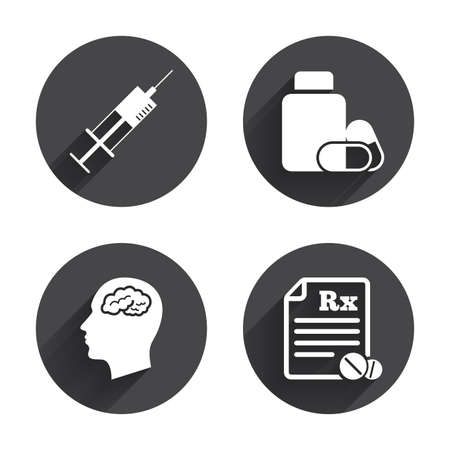 No Ban Or Stop Signs Medicine Icons Medical Tablets Bottle Head
