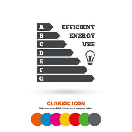 消費: エネルギー効率のアイコン。電気消費のシンボル。アイデア ランプ標識です。古典的なフラット アイコン。色のついた丸。ベクトル  イラスト・ベクター素材