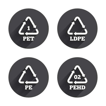polyethylene: PET, Ld-pe and Hd-pe icons. High-density Polyethylene terephthalate sign. Recycling symbol. Circles buttons with long flat shadow. Vector
