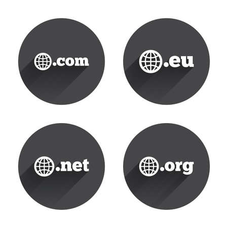 dns: Top-level internet domain icons. Com, Eu, Net and Org symbols with globe. Unique DNS names. Circles buttons with long flat shadow. Vector Illustration