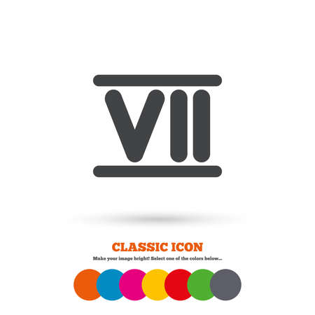 numeral: Roman numeral seven sign icon. Roman number seven symbol. Classic flat icon. Colored circles. Vector