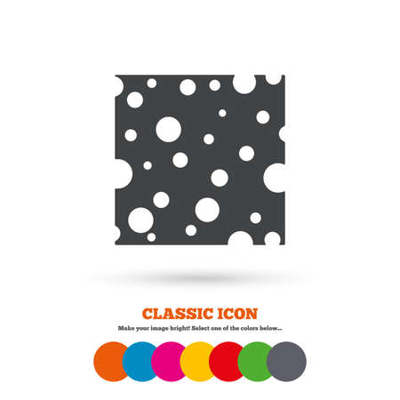 holes: Cheese sign icon. Slice of cheese symbol. Square cheese with holes. Classic flat icon. Colored circles. Vector Illustration