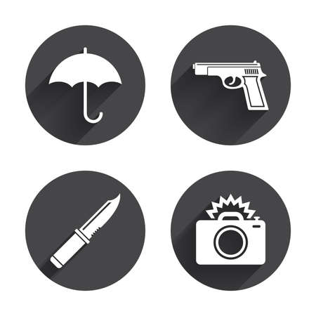 Gun weapon icon.Knife, umbrella and photo camera with flash signs. Edged hunting equipment. Prohibition objects. Circles buttons with long flat shadow. Vector