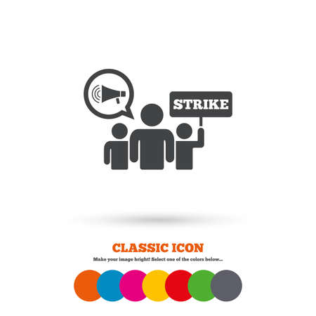 activists: Strike sign icon. Group of people symbol. Industrial action. Holding protest banner and megaphone. Classic flat icon. Colored circles. Vector Illustration