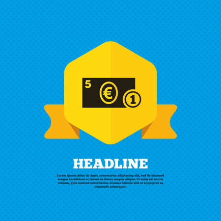 euro money: Cash sign icon. Euro Money symbol. EUR Coin and paper money. Yellow label tag. Circles seamless pattern on back. Vector