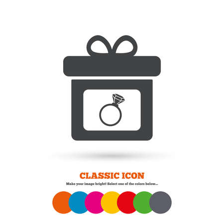 bague de fiancaille: Gift box sign icon. Present with engagement ring symbol. Classic flat icon. Colored circles. Vector Illustration