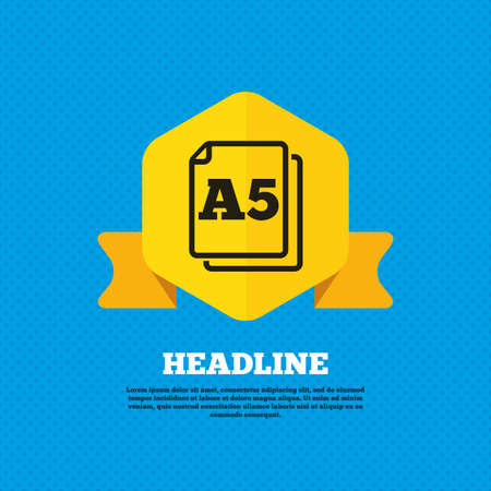 a5: Paper size A5 standard icon. File document symbol. Yellow label tag. Circles seamless pattern on back. Vector