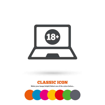 only adults: Adults content laptop sign icon. Website for adults only symbol. Warning. Classic flat icon. Colored circles. Vector Illustration