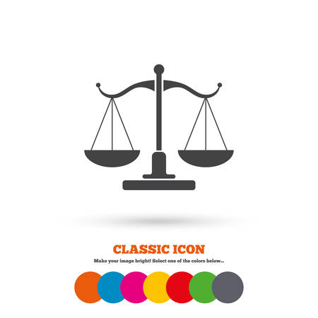 Scales of Justice sign icon. Court of law symbol. Classic flat icon. Colored circles. Vector Ilustração