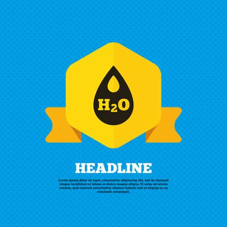 symbol yellow: H2O Water drop sign icon. Tear symbol. Yellow label tag. Circles seamless pattern on back. Vector