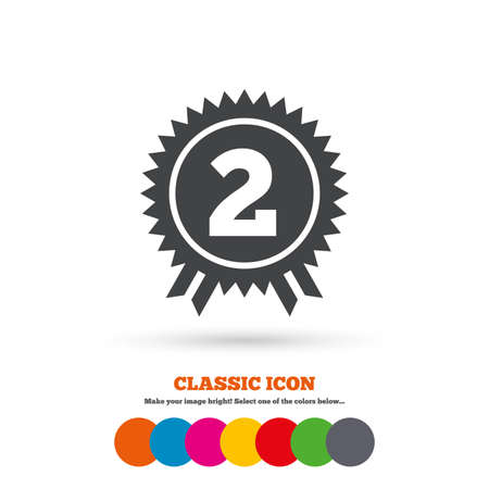 second prize: Second place award sign icon. Prize for winner symbol. Classic flat icon. Colored circles. Vector