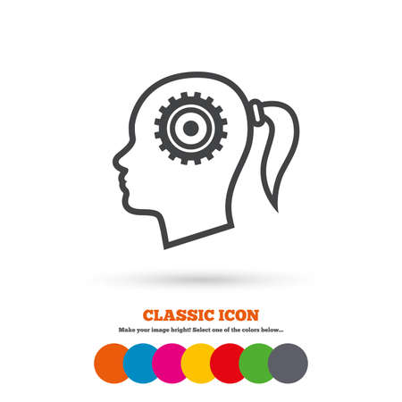 classic woman: Head with gear sign icon. Female woman human head think symbol. Classic flat icon. Colored circles. Vector