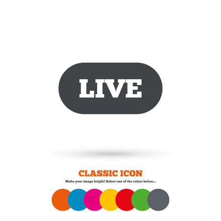 live stream sign: Live sign icon. On air stream symbol. Classic flat icon. Colored circles. Vector
