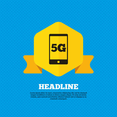 telecommunications technology: 5G sign icon. Mobile telecommunications technology symbol. Yellow label tag. Circles seamless pattern on back. Vector