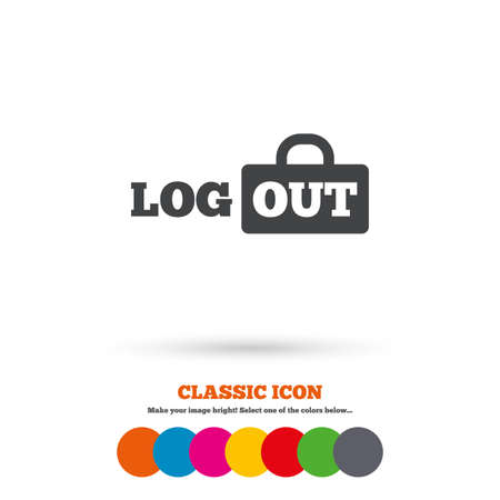 lock out: Logout sign icon. Sign out symbol. Lock icon. Classic flat icon. Colored circles. Vector