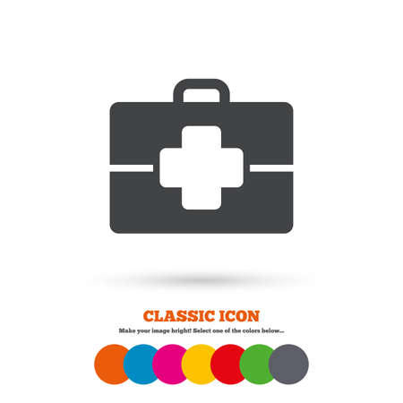 doctor symbol: Medical case sign icon. Doctor symbol. Classic flat icon. Colored circles. Vector