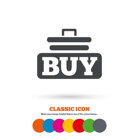 cart button: Buy sign icon. Online buying cart button. Classic flat icon. Colored circles. Vector
