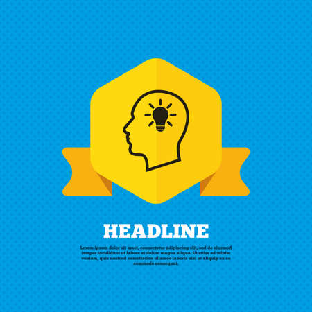 head tag: Head with lamp bulb sign icon. Male human head idea symbol. Yellow label tag. Circles seamless pattern on back. Vector