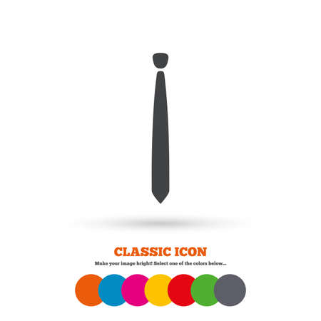 official wear: Tie slim sign icon. Business clothes symbol. Classic flat icon. Colored circles. Vector